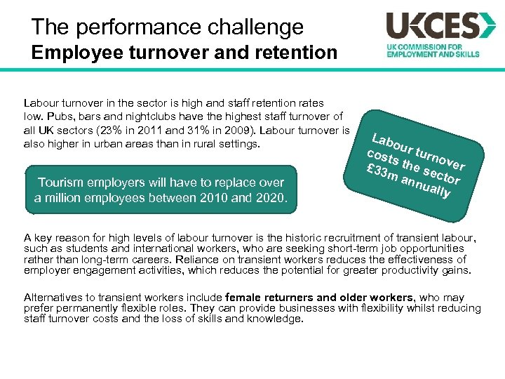 The performance challenge Employee turnover and retention Labour turnover in the sector is high
