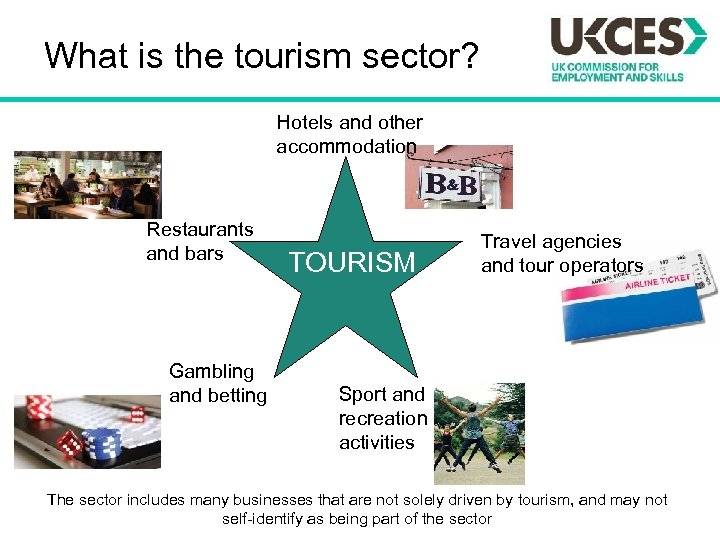 What is the tourism sector? Hotels and other accommodation Restaurants and bars Gambling and