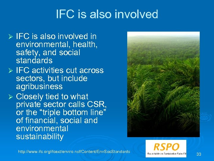 IFC is also involved in environmental, health, safety, and social standards Ø IFC activities