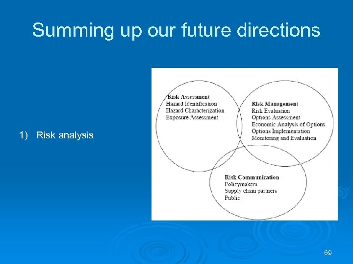Summing up our future directions 1) Risk analysis 69