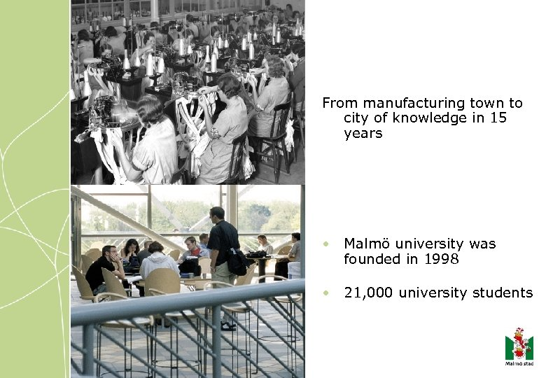 From manufacturing town to city of knowledge in 15 years • Malmö university was