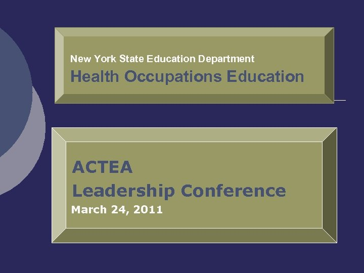 New York State Education Department Health Occupations Education ACTEA Leadership Conference March 24, 2011