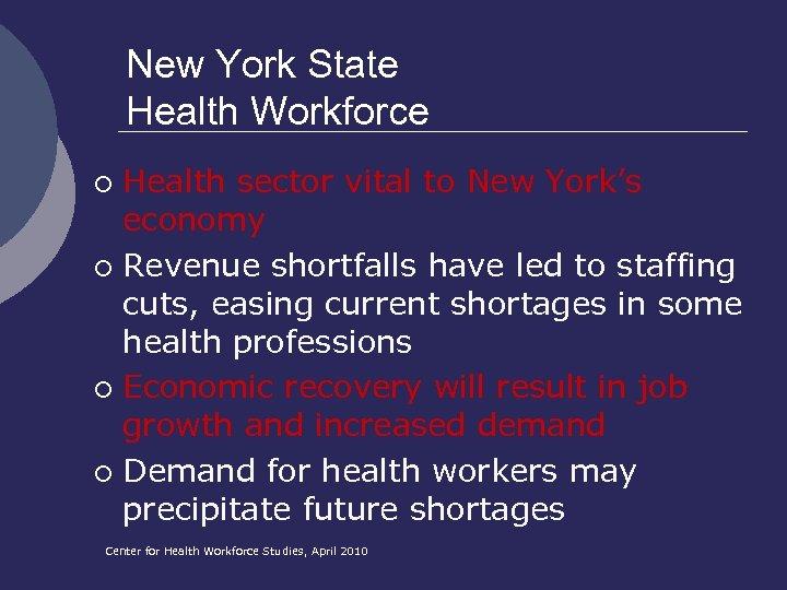 New York State Health Workforce Health sector vital to New York's economy ¡ Revenue