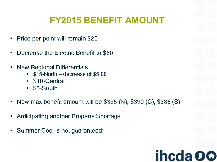 FY 2015 BENEFIT AMOUNT • Price per point will remain $20 • Decrease the