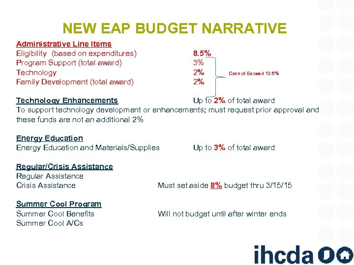NEW EAP BUDGET NARRATIVE Administrative Line Items Eligibility (based on expenditures) Program Support (total
