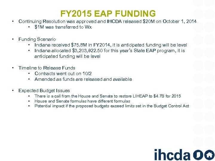 FY 2015 EAP FUNDING • Continuing Resolution was approved and IHCDA released $20 M