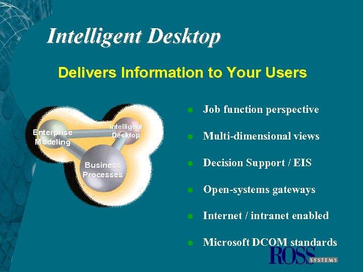 Intelligent Desktop Delivers Information to Your Users l Enterprise Modeling Intelligent Desktop Business Processes