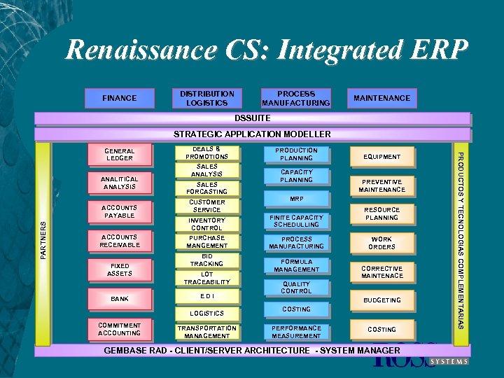 Renaissance CS: Integrated ERP FINANCE DISTRIBUTION LOGISTICS PROCESS MANUFACTURING MAINTENANCE DSSUITE STRATEGIC APPLICATION MODELLER