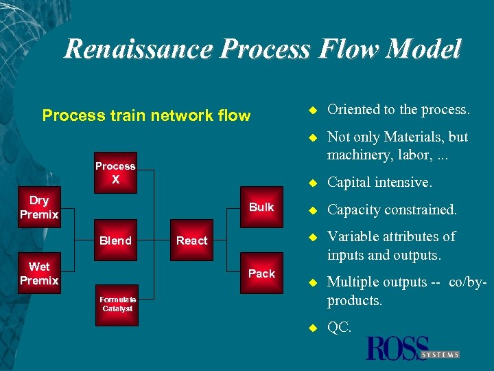 Renaissance Process Flow Model u Oriented to the process. u Not only Materials, but