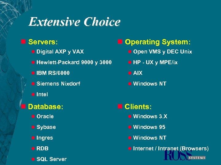 Extensive Choice n Servers: n Operating System: l Digital AXP y VAX l Open