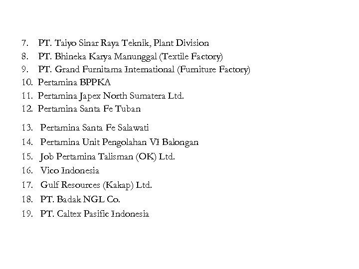 7. 8. 9. 10. 11. 12. PT. Taiyo Sinar Raya Teknik, Plant Division PT.