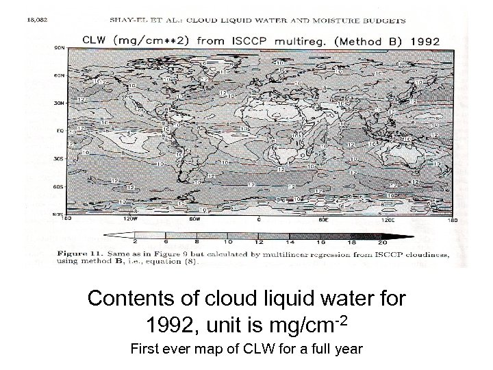 Contents of cloud liquid water for 1992, unit is mg/cm-2 First ever map of