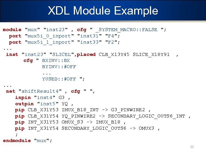 XDL Module Example module