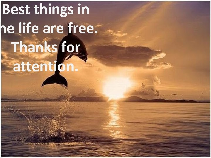 Best things in he life are free. Thanks for attention.