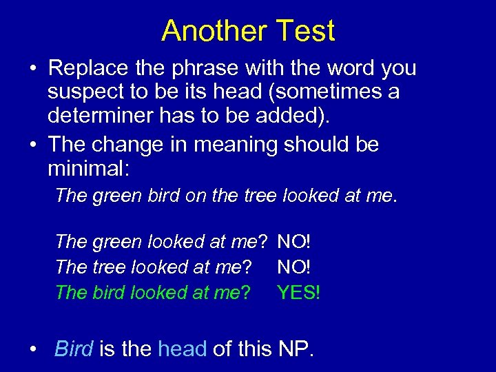 Another Test • Replace the phrase with the word you suspect to be its