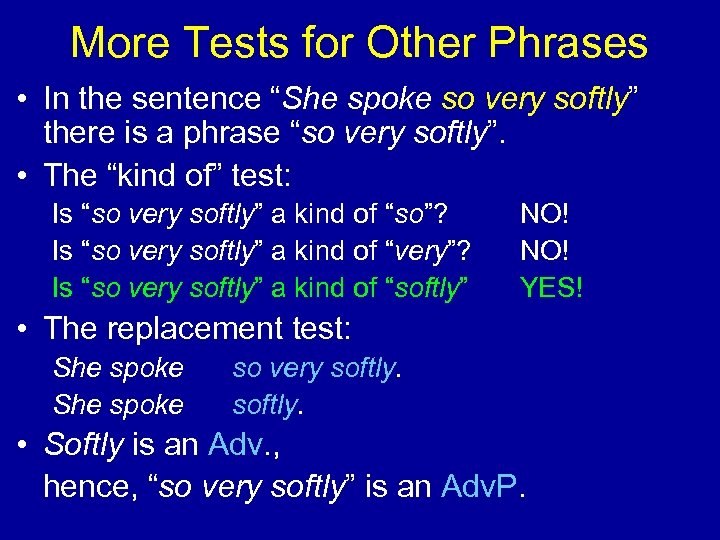 """More Tests for Other Phrases • In the sentence """"She spoke so very softly"""""""