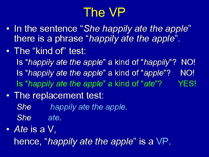 """The VP • In the sentence """"She happily ate the apple"""" there is a"""