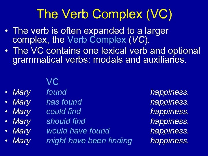 The Verb Complex (VC) • The verb is often expanded to a larger complex,