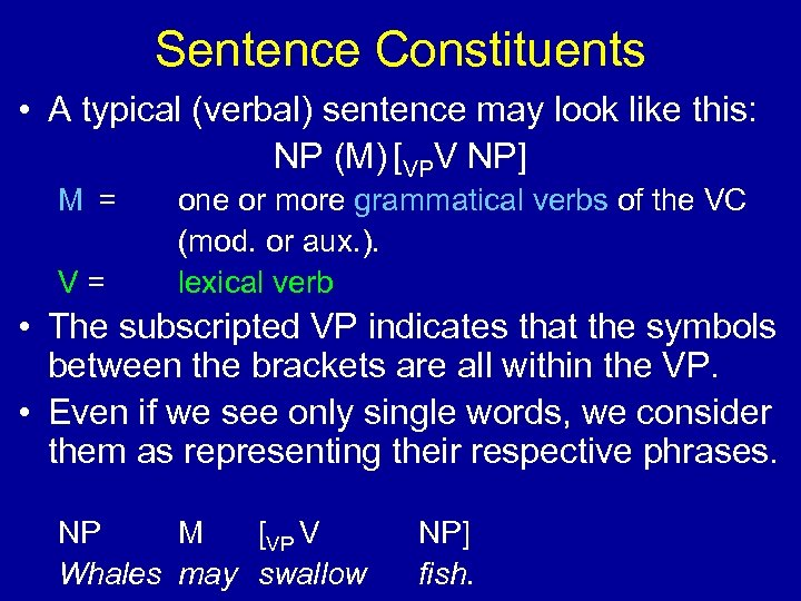 Sentence Constituents • A typical (verbal) sentence may look like this: NP (M) [VPV
