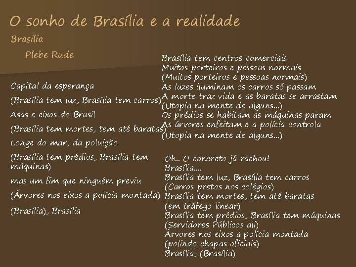 O sonho de Brasília e a realidade Brasilia Plebe Rude Brasília tem centros comerciais