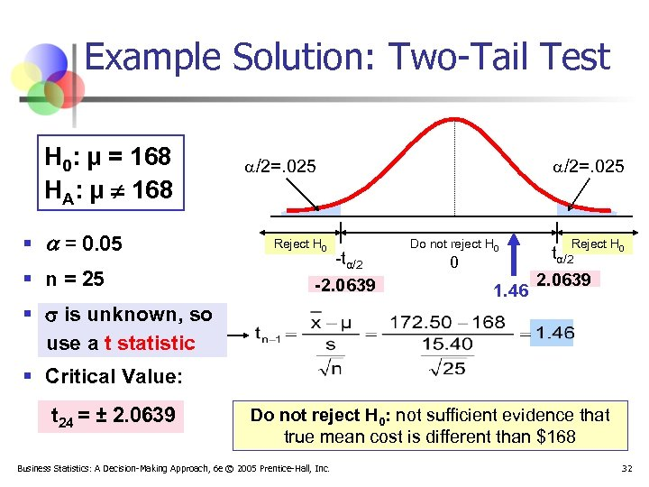 Example Solution: Two-Tail Test H 0: μ = 168 HA: μ ¹ 168 §