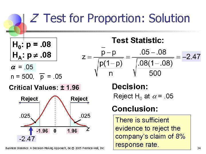 Z Test for Proportion: Solution Test Statistic: H 0: p =. 08 HA: p