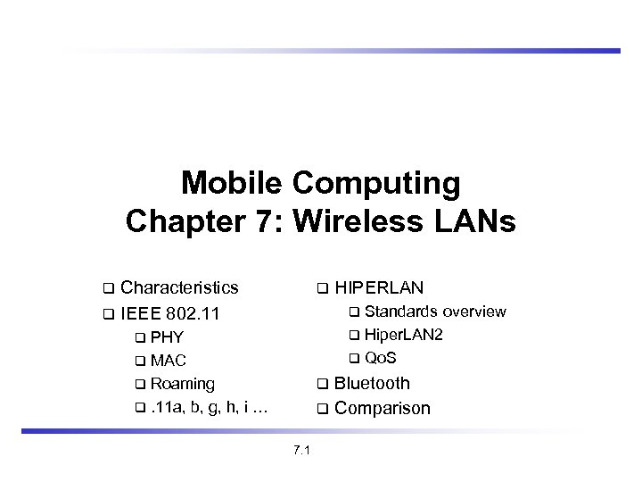 Mobile Computing Chapter 7: Wireless LANs Characteristics IEEE 802. 11 HIPERLAN Standards overview Hiper.