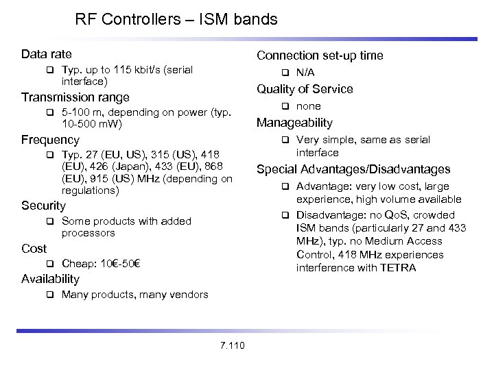 RF Controllers – ISM bands Data rate Connection set-up time Typ. up to 115