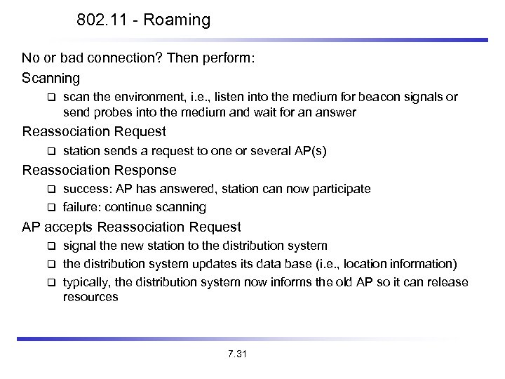 802. 11 - Roaming No or bad connection? Then perform: Scanning scan the environment,