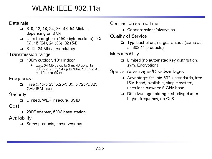 WLAN: IEEE 802. 11 a Data rate Connection set-up time 6, 9, 12, 18,