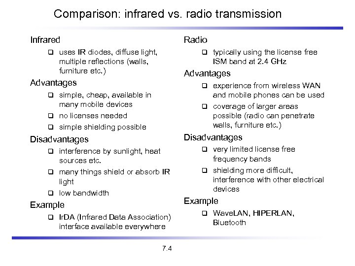 Comparison: infrared vs. radio transmission Infrared Radio uses IR diodes, diffuse light, multiple reflections