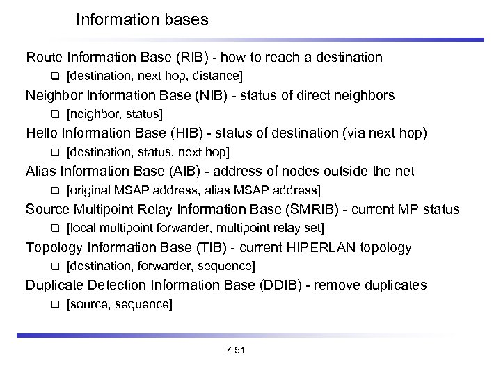 Information bases Route Information Base (RIB) - how to reach a destination [destination, next