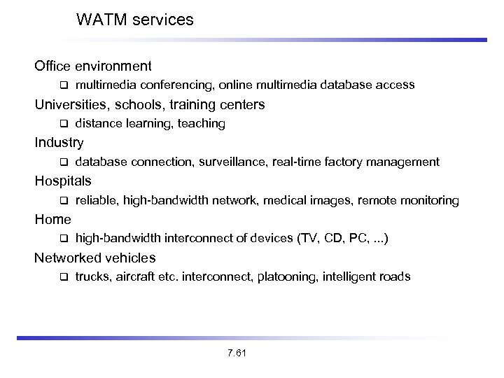 WATM services Office environment multimedia conferencing, online multimedia database access Universities, schools, training centers