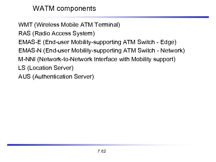 WATM components WMT (Wireless Mobile ATM Terminal) RAS (Radio Access System) EMAS-E (End-user Mobility-supporting