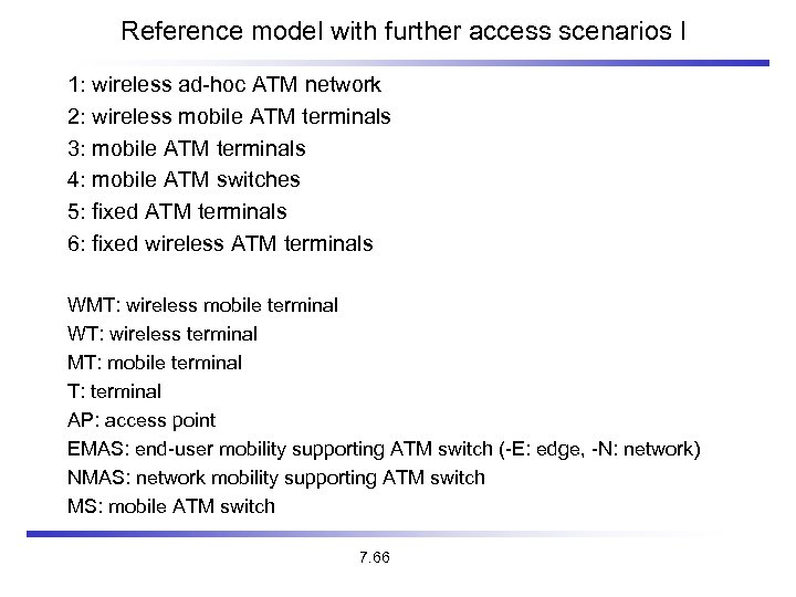 Reference model with further access scenarios I 1: wireless ad-hoc ATM network 2: wireless