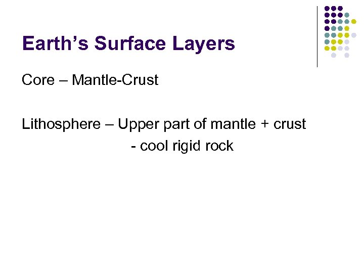 Earth's Surface Layers Core – Mantle-Crust Lithosphere – Upper part of mantle + crust