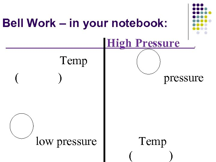 Bell Work – in your notebook: High Pressure ( Temp ) . pressure low