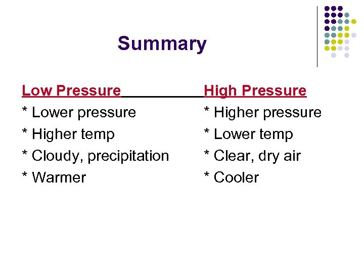 Summary Low Pressure * Lower pressure * Higher temp * Cloudy, precipitation * Warmer