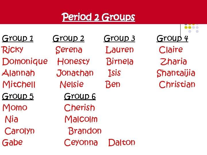 Period 2 Groups Group 1 Group 2 Group 3 Ricky Serena Lauren Domonique Honesty