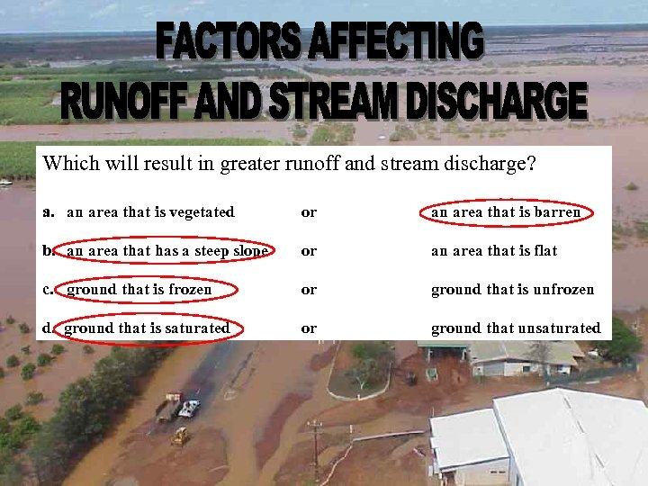Which will result in greater runoff and stream discharge? a. an area that is