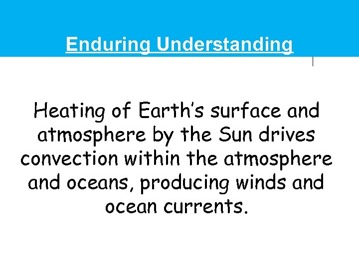 Enduring Understanding Heating of Earth's surface and atmosphere by the Sun drives convection within
