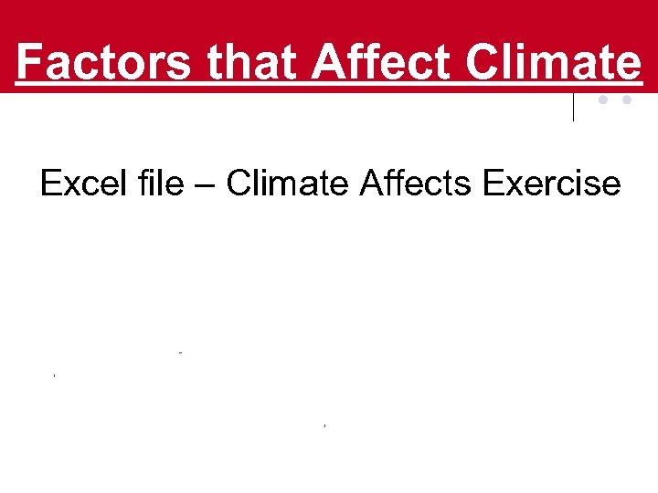 Factors that Affect Climate Excel file – Climate Affects Exercise
