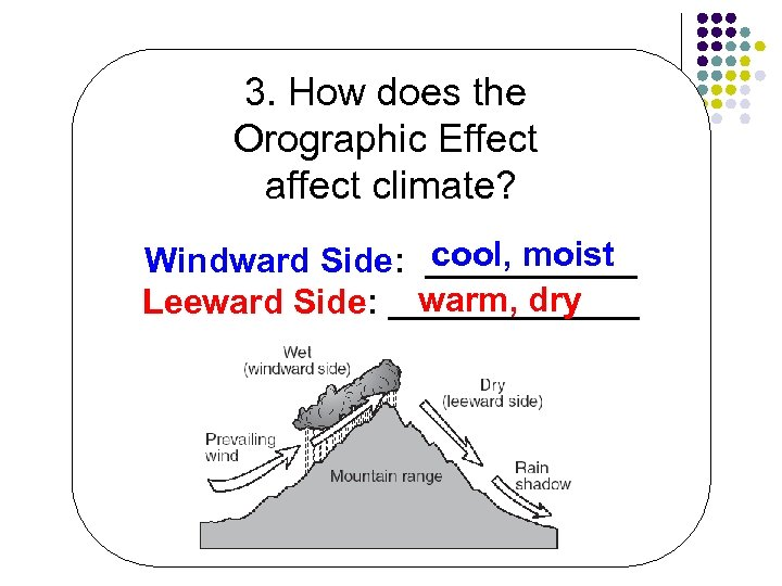 3. How does the Orographic Effect affect climate? cool, moist Windward Side: ______ warm,