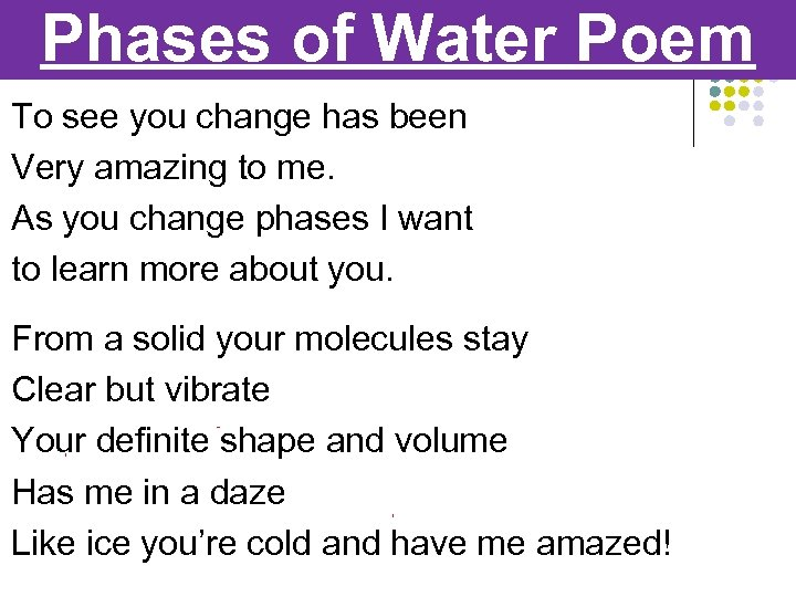 Phases of Water Poem To see you change has been Very amazing to me.