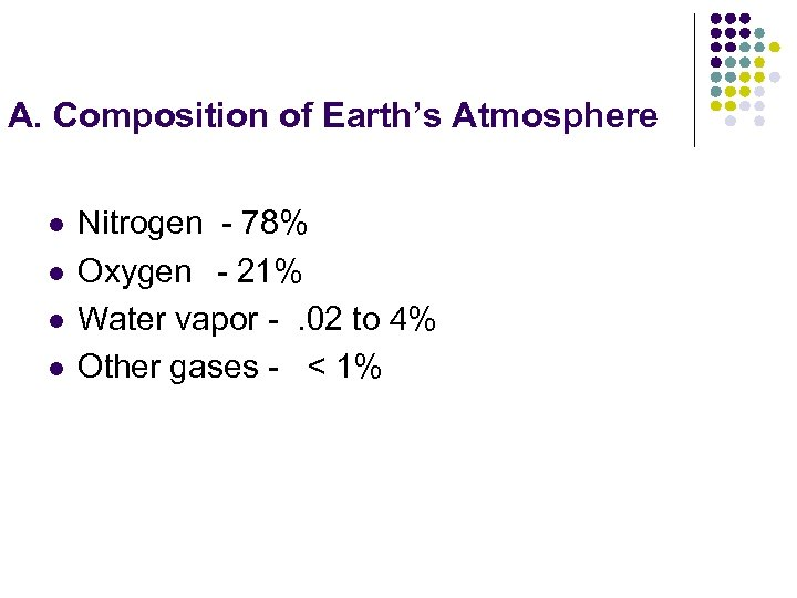 A. Composition of Earth's Atmosphere l l Nitrogen - 78% Oxygen - 21% Water