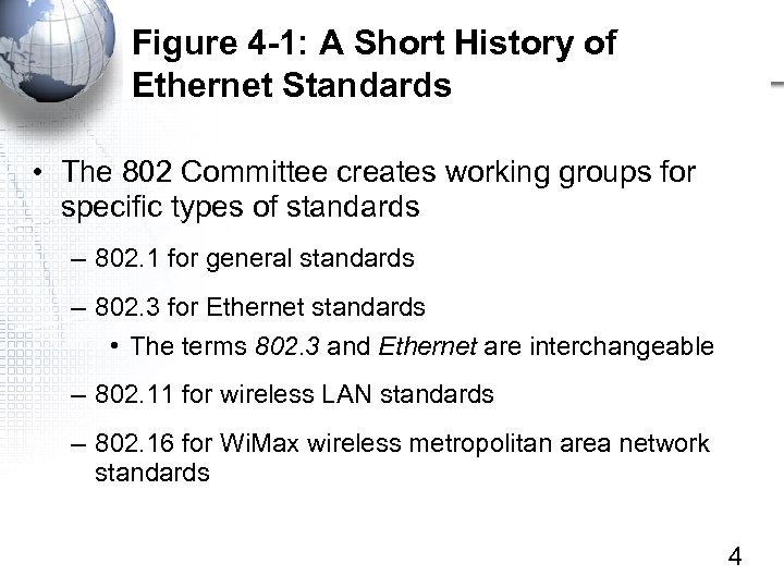 Figure 4 -1: A Short History of Ethernet Standards • The 802 Committee creates