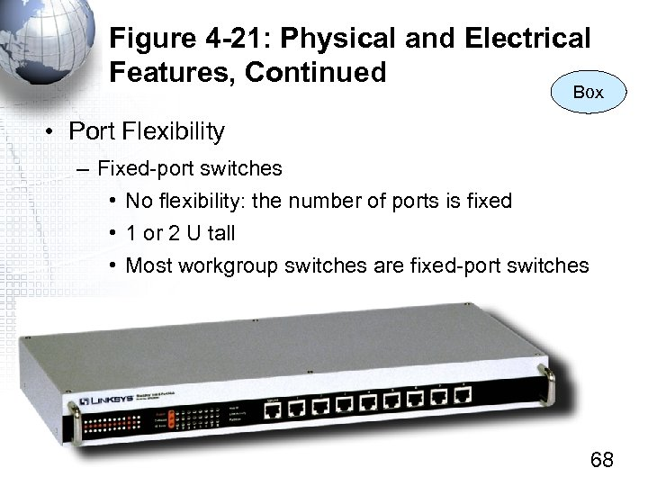 Figure 4 -21: Physical and Electrical Features, Continued Box • Port Flexibility – Fixed-port