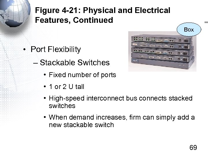 Figure 4 -21: Physical and Electrical Features, Continued Box • Port Flexibility – Stackable