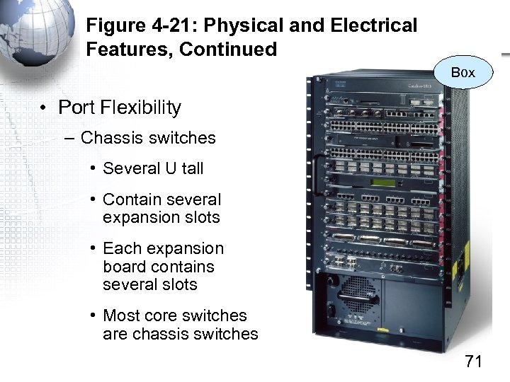 Figure 4 -21: Physical and Electrical Features, Continued Box • Port Flexibility – Chassis