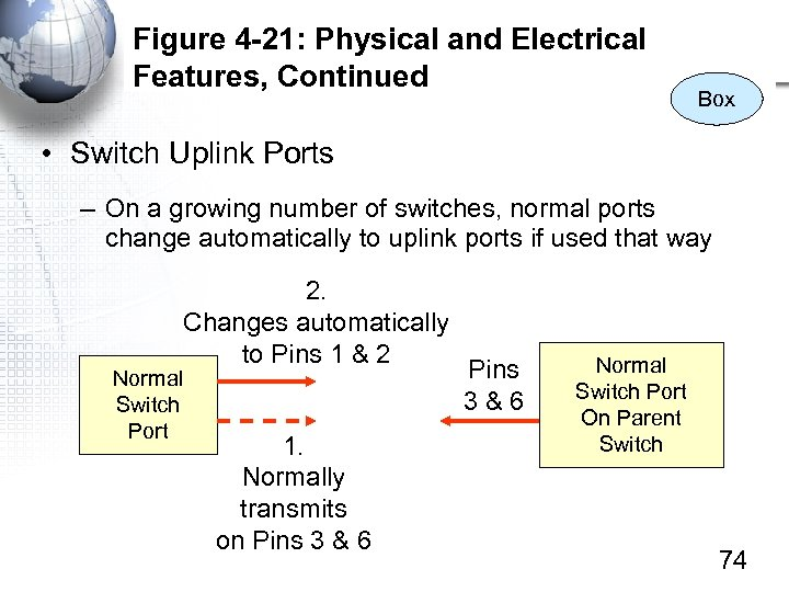 Figure 4 -21: Physical and Electrical Features, Continued Box • Switch Uplink Ports –